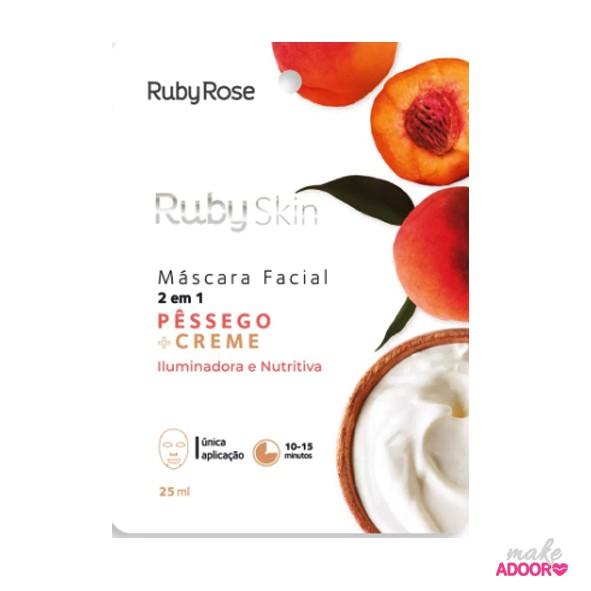 Máscara Facial de Tecido Pessego+Creme Ruby Rose