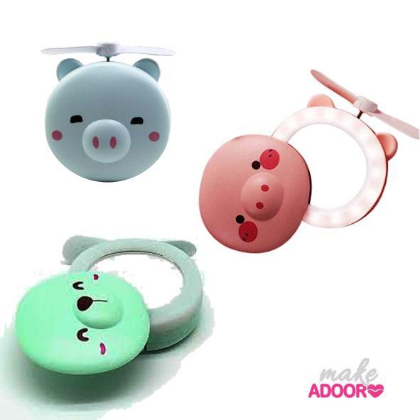 Mini Ventilador Com Espelho e LED Importado