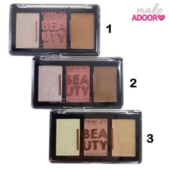 Paleta Beauty Contorno Blush e Iluminador Pink 21
