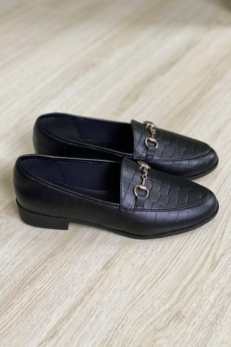 Mocassim Croco Black