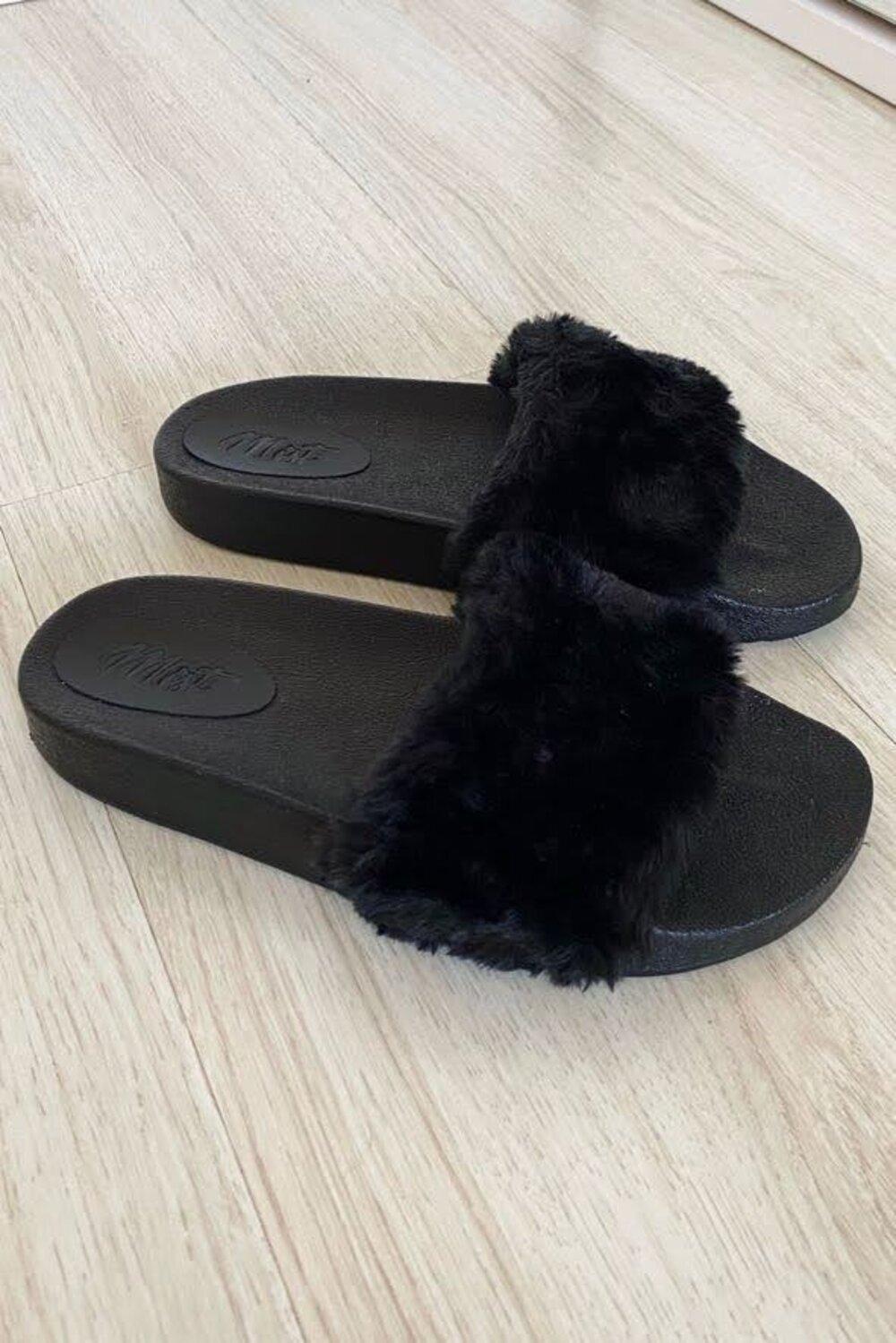 Slide Fluffy Black