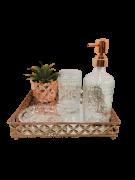 Jg Banheiro Flor de Lis Gold Rose 3 peças