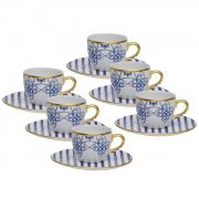 Jogo 6 Xícaras Chá c/pires Lusitana - Oxford