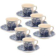 Jogo 6 Xícaras de Chá 200ml com Pires Cena Inglesa- Oxford