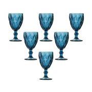 Jogo Taças Água Diamond Azul