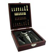 Kit Acessórios para Vinho com Xadrez 4 pçs