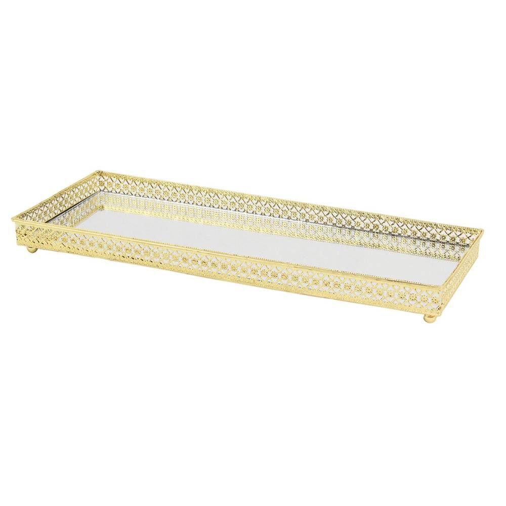 Bandeja Espelhada KV0095 Dourada 30x11,5cm