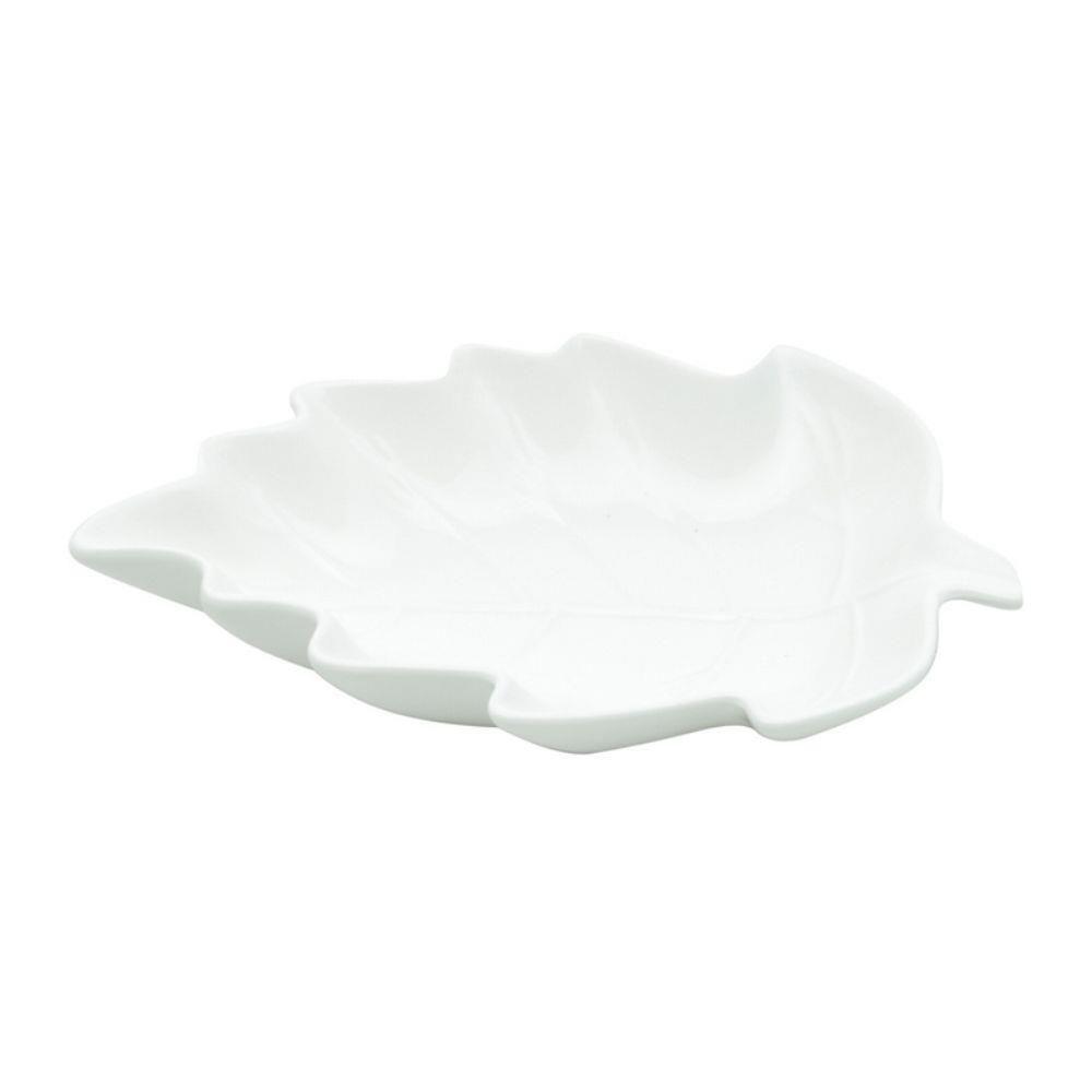 Centro de Mesa em Porcelana Branco 14x10cm Leave -
