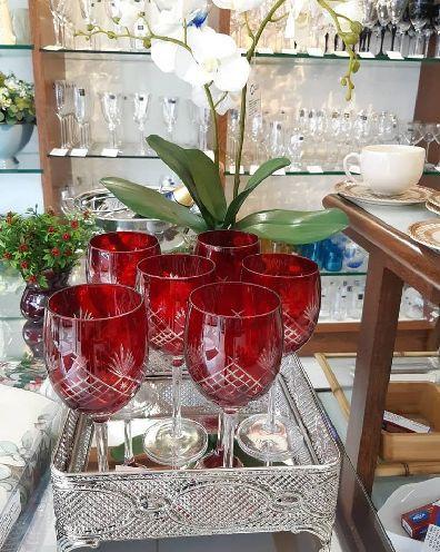 Conjunto com 6 Taças de água Vermelhas Tropicalis 9028 - Lyor