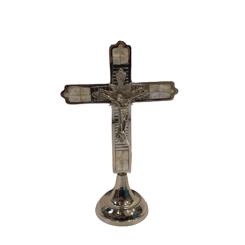 CRUCIFIXO MADREPEROLA COM BASE10X22CM
