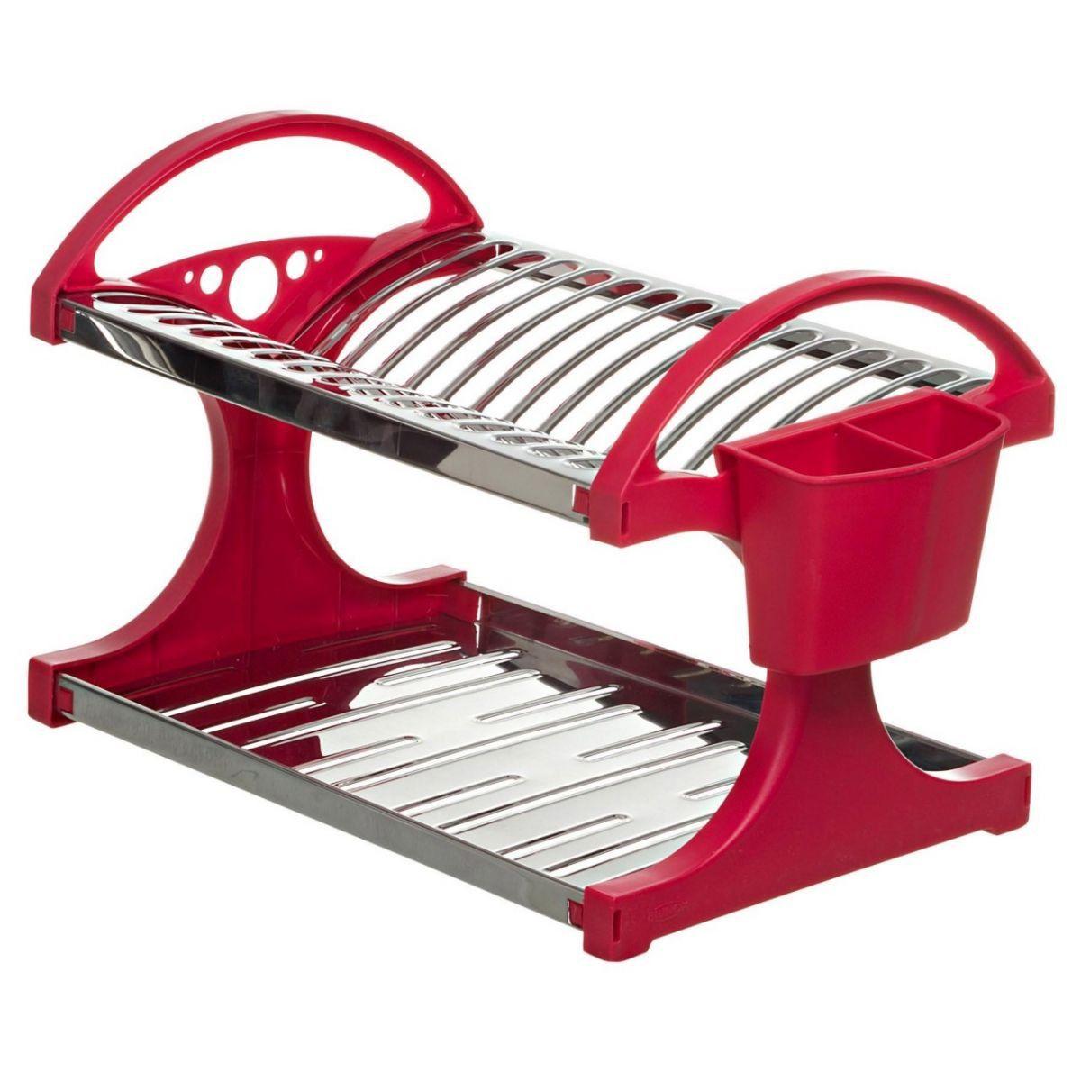 Escorredor de Pratos Inox Vermelho - Brinox
