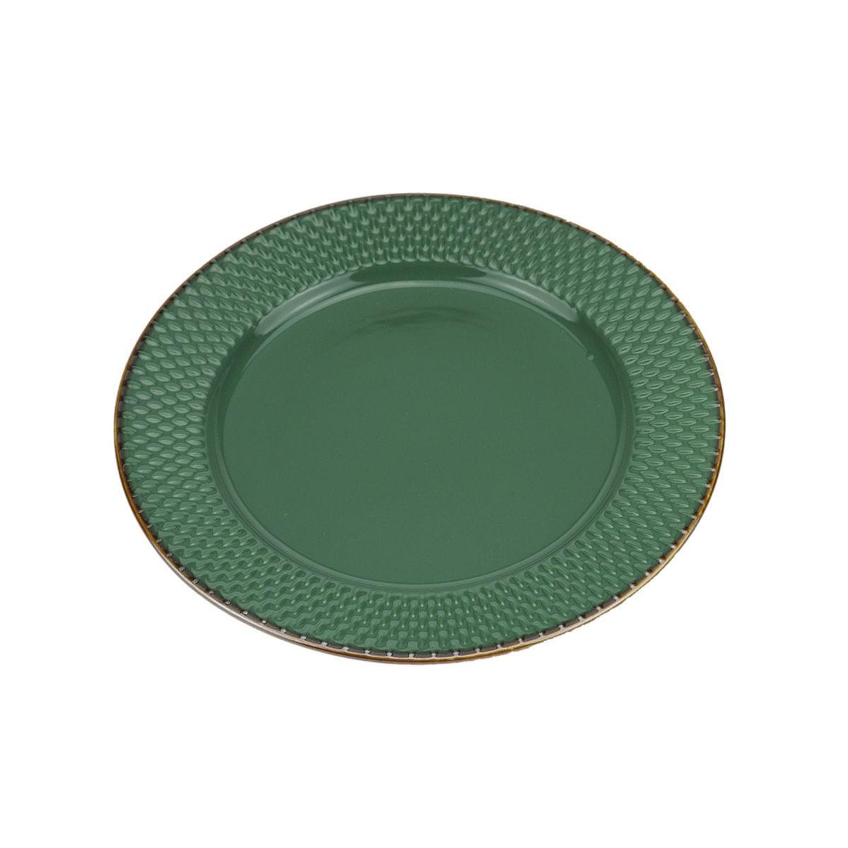 Jg 6 pratos rasos de porcelana drops verde 27cm