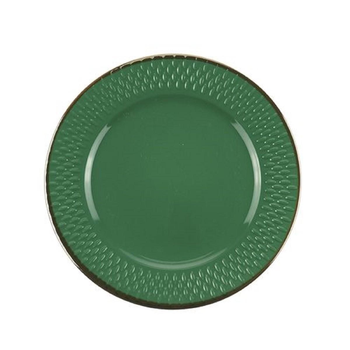Jg 6 pratos de sobremesa porcelana drops verde