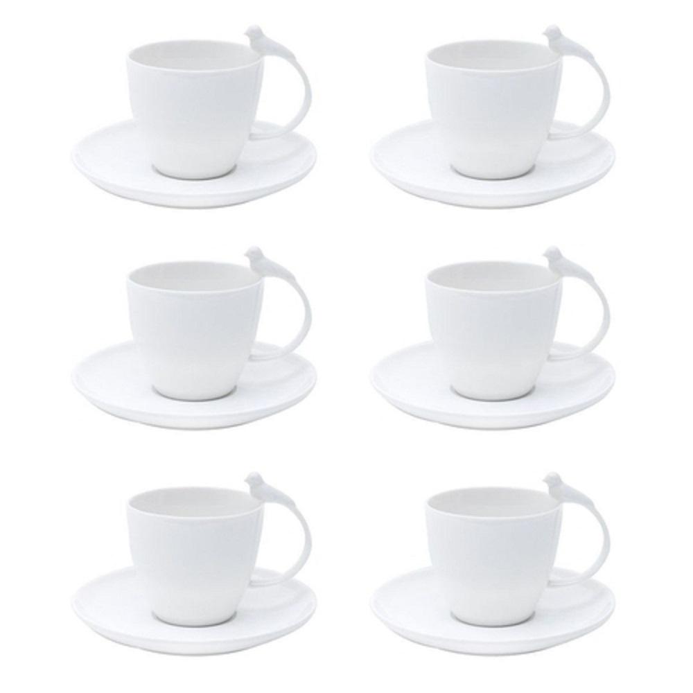 Jg 6 xicaras cafe  porcelana  birds 85 ml-Wolff