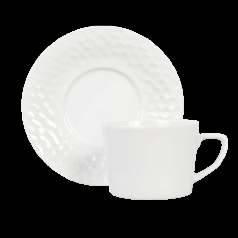 Jg 6 Xícaras Cha Porcelana com Pires 200 ml Artico - Schmidt