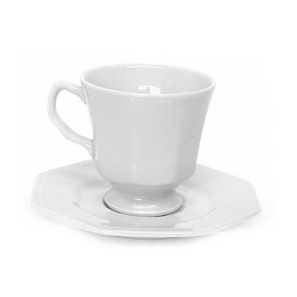 Jg 6 xicaras de cafe porcelana c/ pires prisma 60 ML