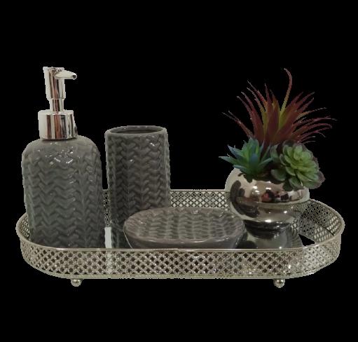 Jg Banheiro 3pçs  Cerâmica Mosaic Cinza