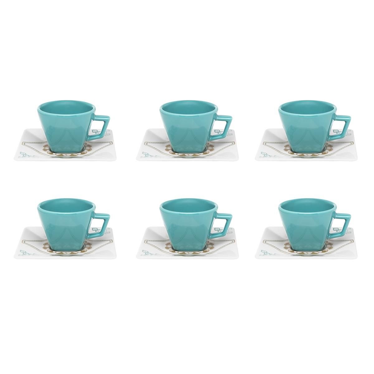 Jogo 6 Xícaras Chá Domo Porcelana - Oxford