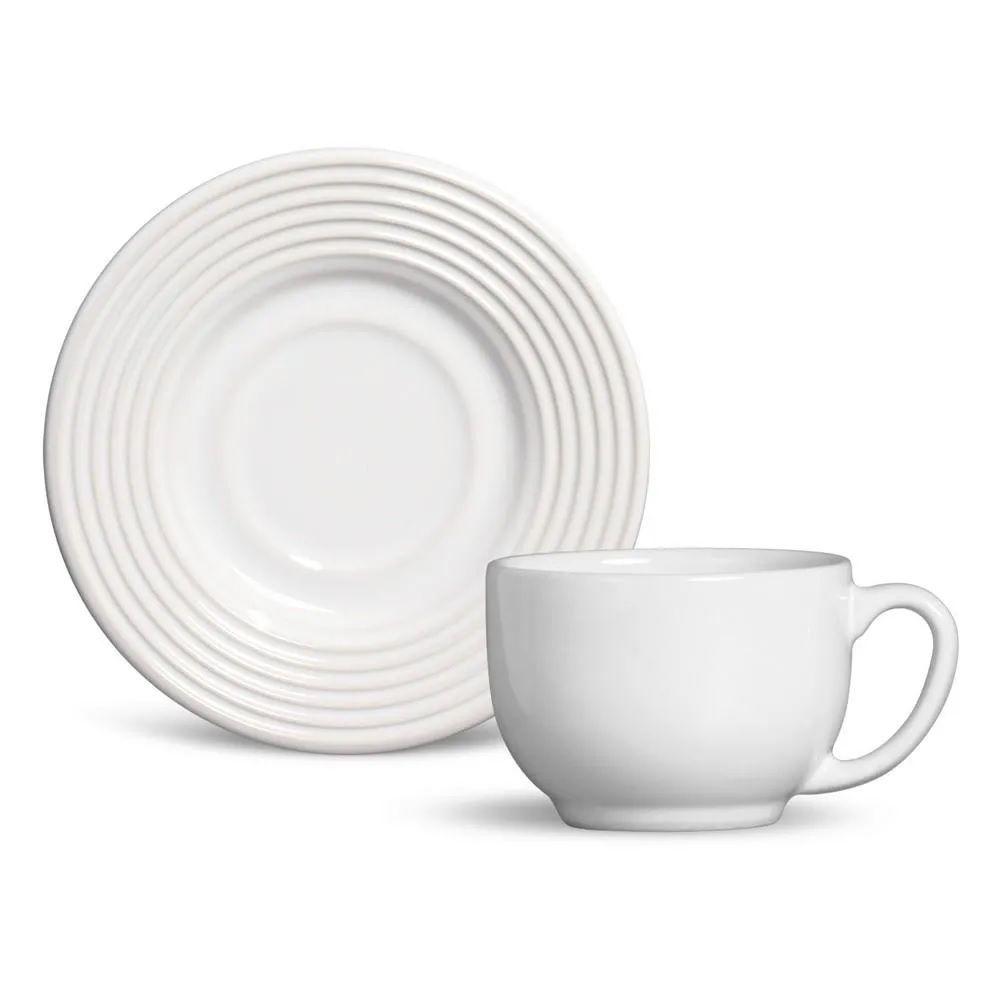 Jogo 6 Xícaras de Chá Argos Branco 161 ml - Schmidt
