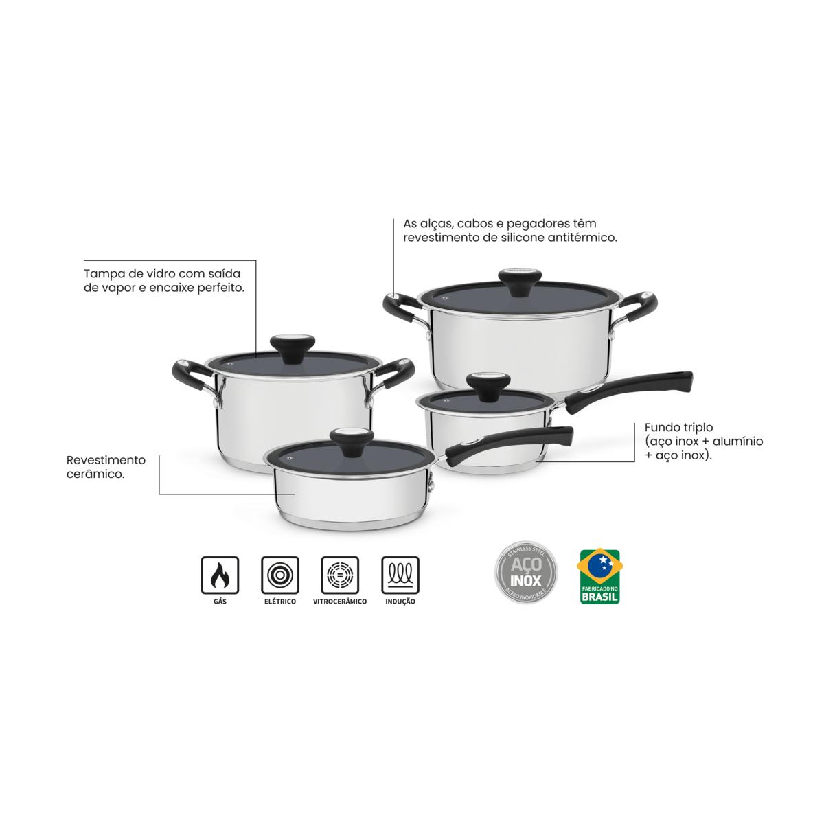 Jogo de Panelas aço inox Solar revestimento ceramico 4 peças