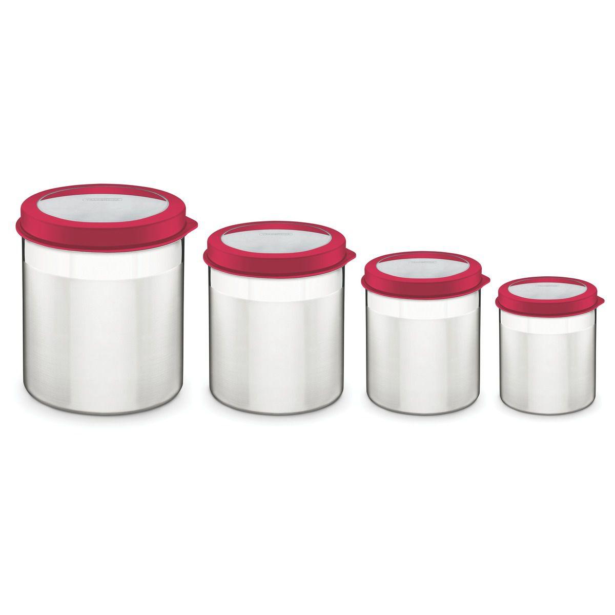 Jogo de potes aço inox com tampa plástica 4 pçs - Tramontina