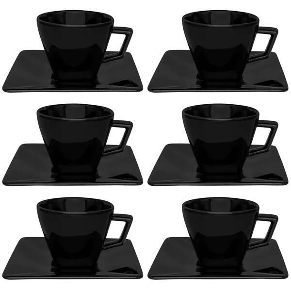 Jogo de Xícaras Chá Com Pires 6 Peças 200ml Quartier Black - Oxford