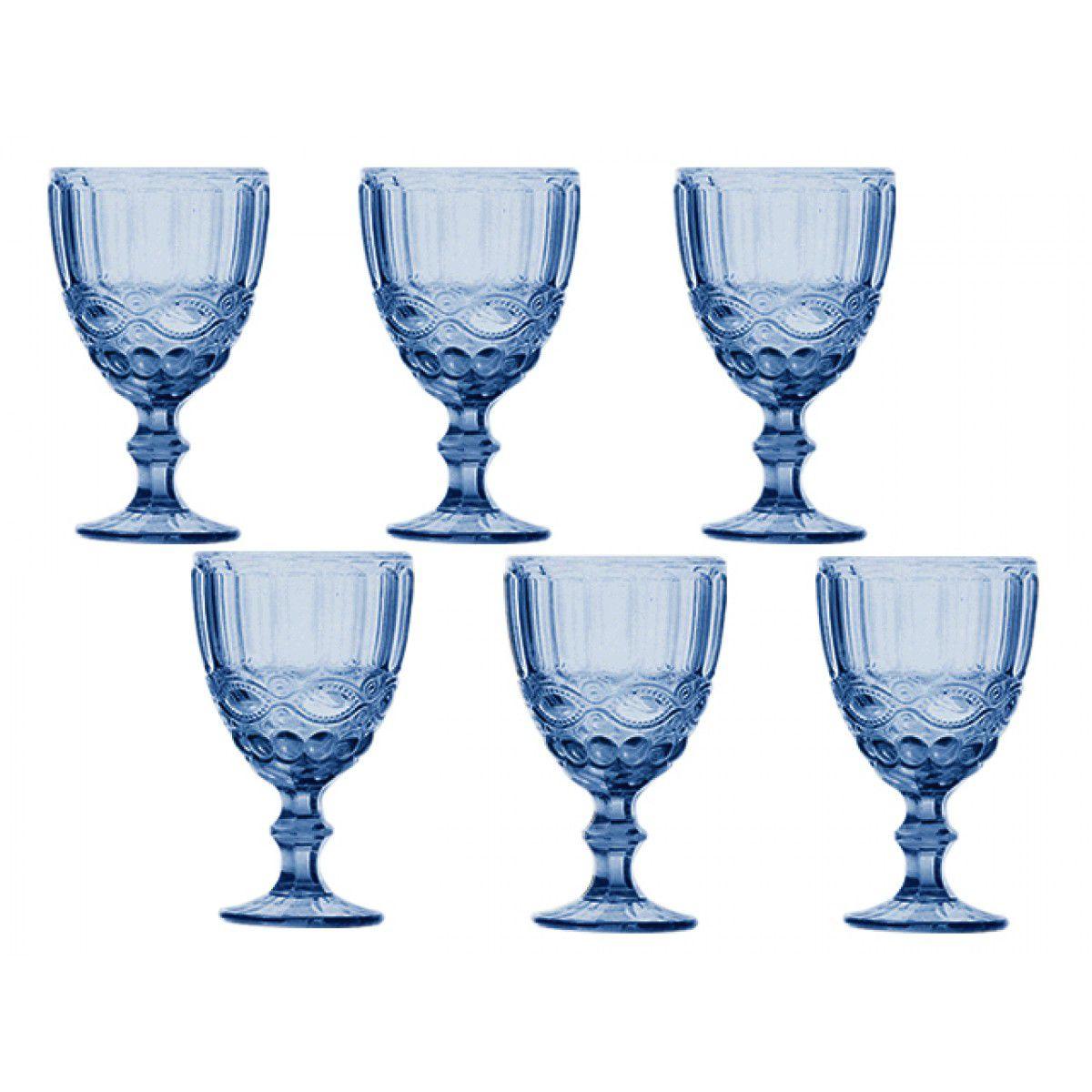 Jogo Taças Água Elegance Azul
