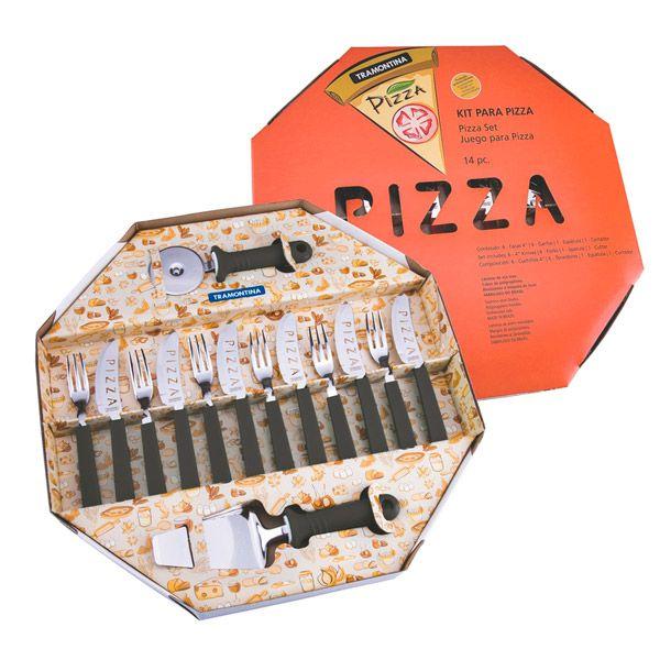 Kit para Pizza Tramontina com Lâminas em Aço Inox e Cabos de Polipropileno Preto-14 Peças