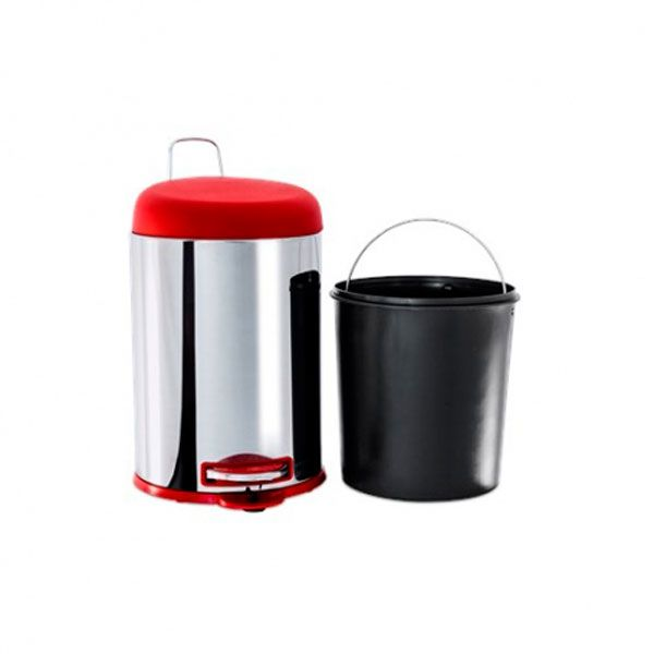 Lixeira Inox 3048/212 Vermelha - Brinox