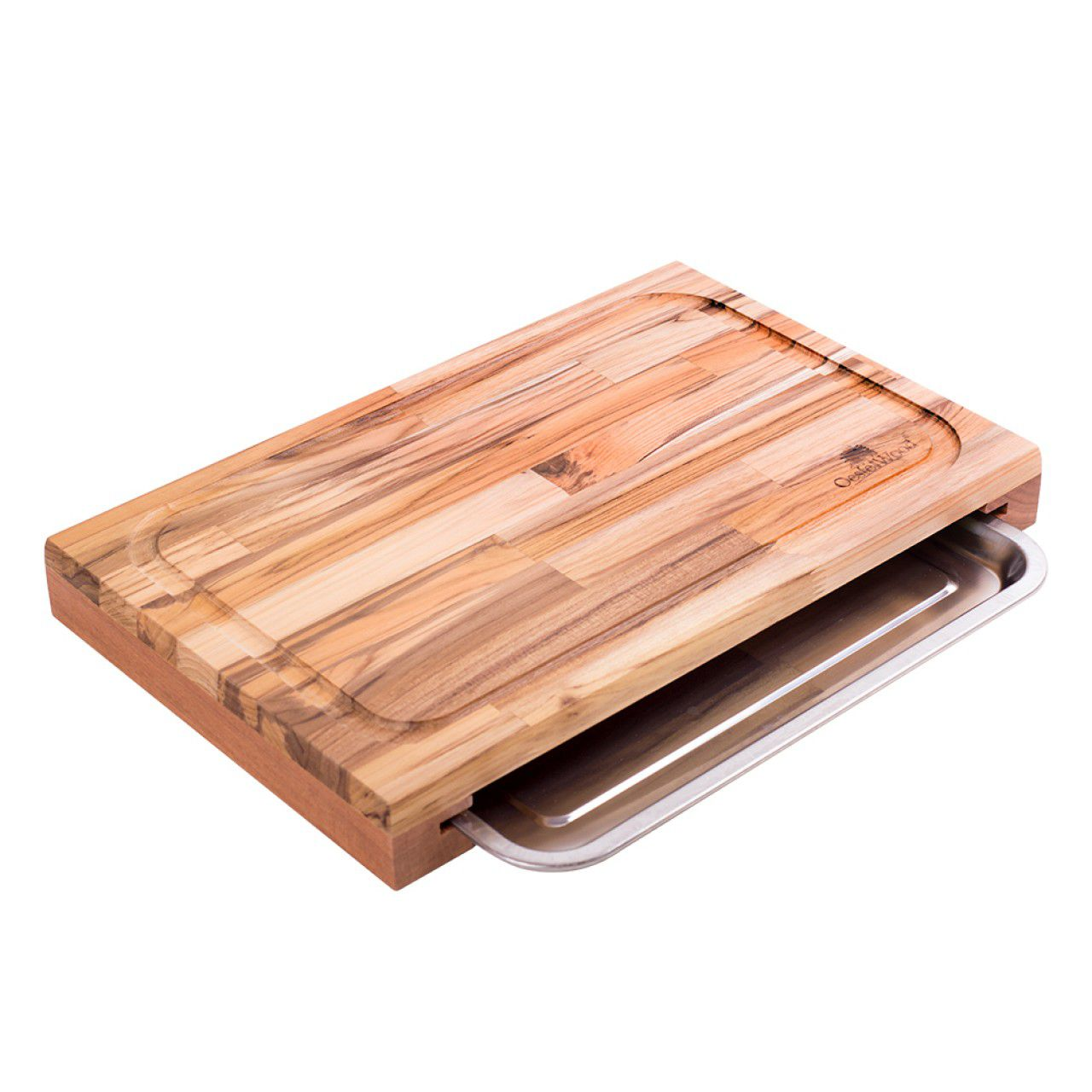 Tabua com Bandeja Churrasco Teka - Oeste Wood 48x30,5x5cm