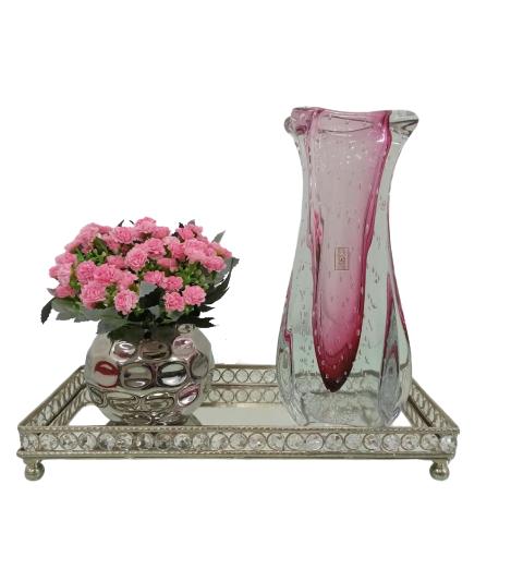 Vaso Murano Cristal Rose Intense - São Marcos