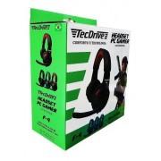 Headset PC Gamer com microfone Preto e Vermelho F4 - TecDrive