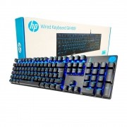 Teclado Gamer GK400F HP Mecânico USB LED Azul Switch Blue ABNT2 Preto