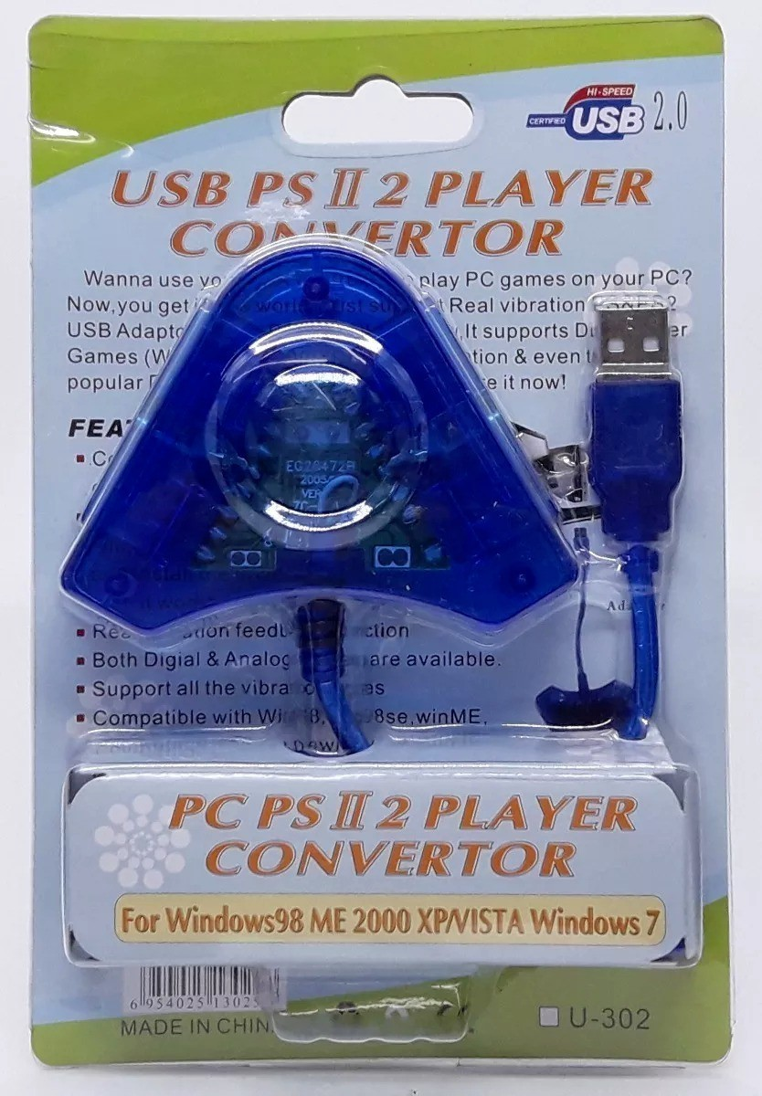 Adaptador Conversor 2 Entradas Joystick PS2 P/ USB PC