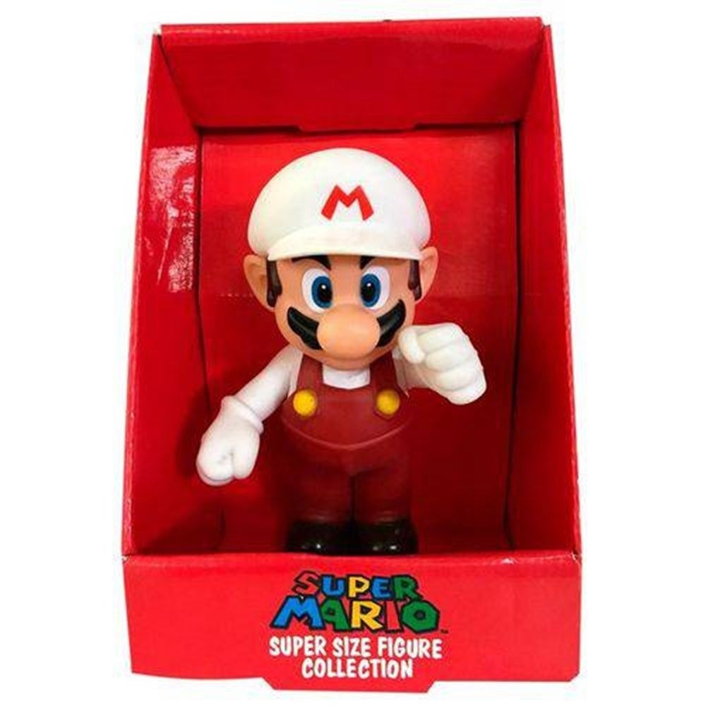 Boneco Super Size: Super Mario Collection - Mario Bros Fire Branco