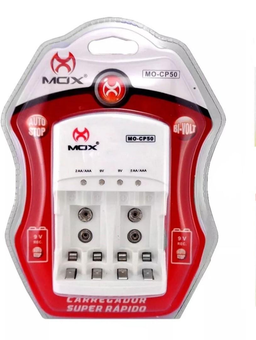 Carregador de Pilhas AA / AAA 9v Mox Bivolt Auto Stop MO-CP50