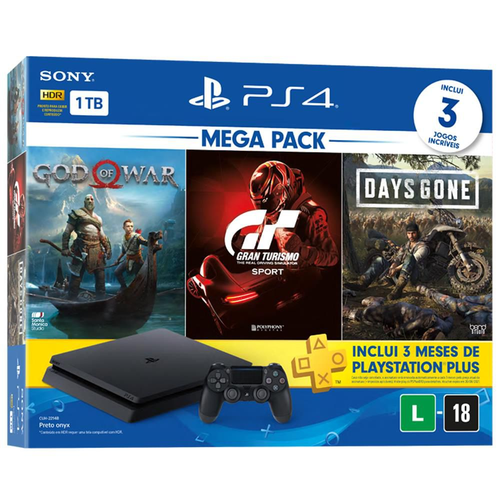 Console PlayStation 4 Slim 1TB Bundle 12 + Gran Turismo Sport + God of War + Days Gone + 3 Meses Playstation Plus