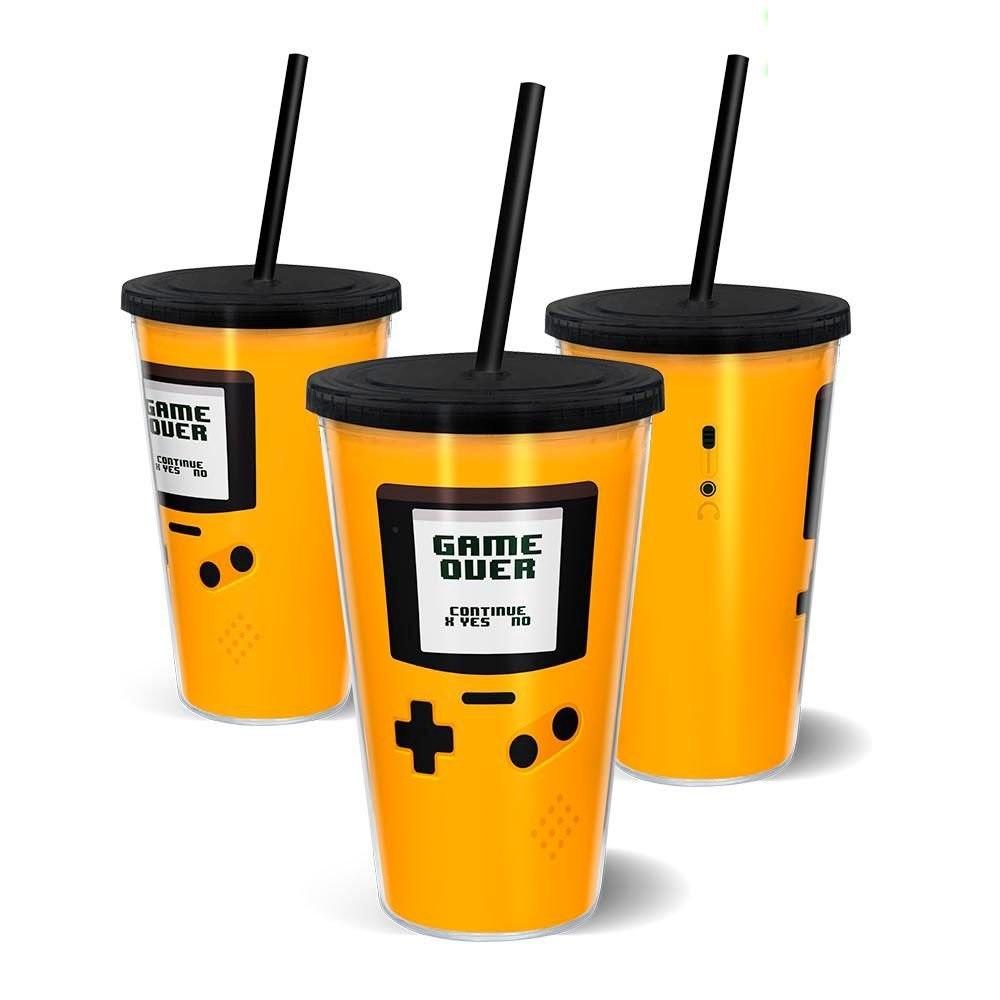 Copo Canudo 500ml GameBoy Amarelo Game Over - Beek