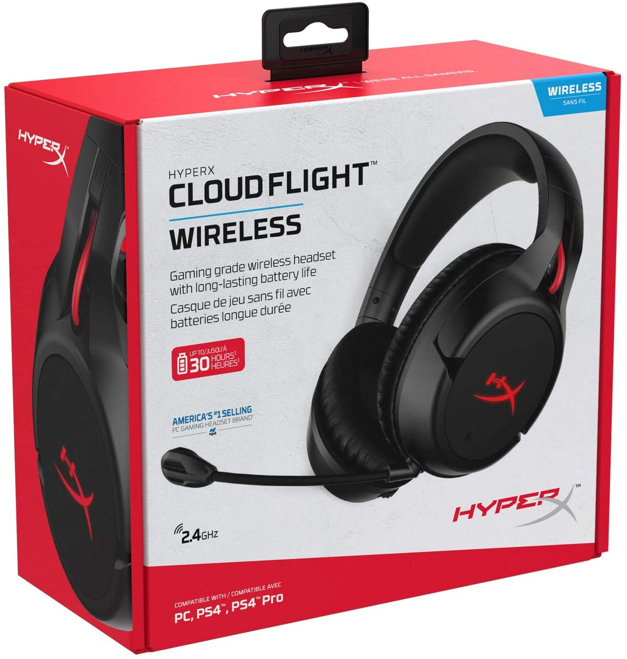 Headset Gamer Cloud Flight Wireless HyperX Preto