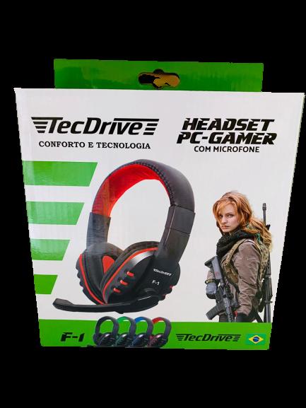 Headset Gamer com Microfone Preto e Vermelho F1 - TecDrive