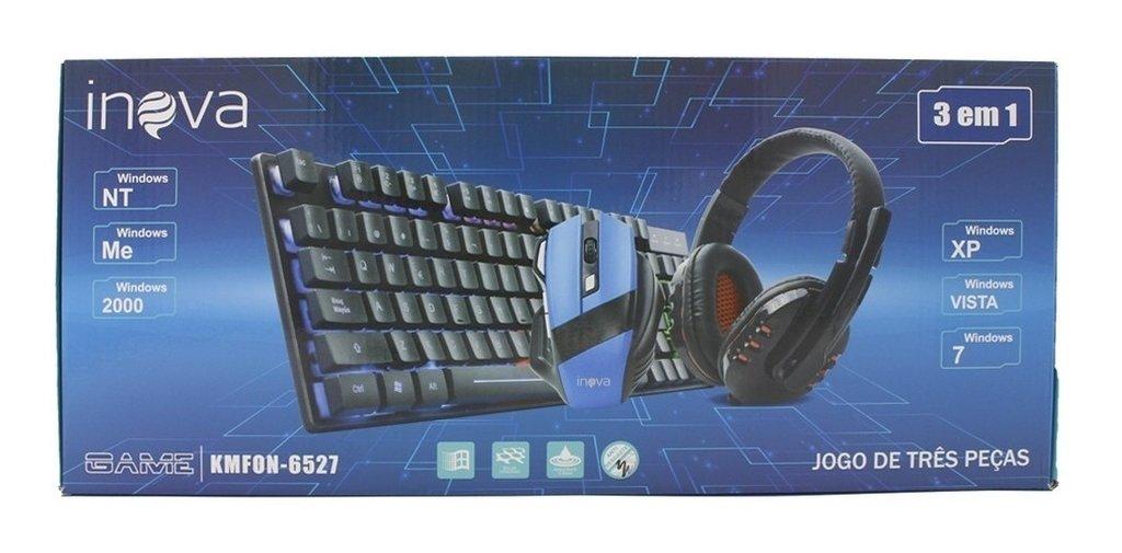 KIT Teclado/Mouse/Headset Gamer INOVA KMFON-6527