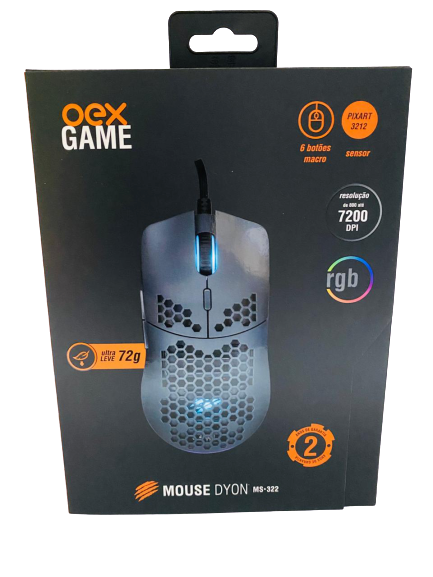Mouse Gamer Dyon MS-322 Ultra Leve RGB 7 Botões - Oex Game