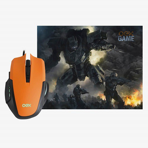 Mouse Gamer OEX MC103 com Mousepad Combo Clash 3.200dpi
