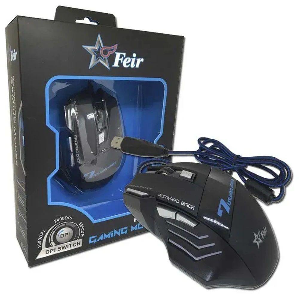 Mouse Gamer Óptico 7 Gaming: 2400dpi Com Cabo Usb Original - FEIR FR 404