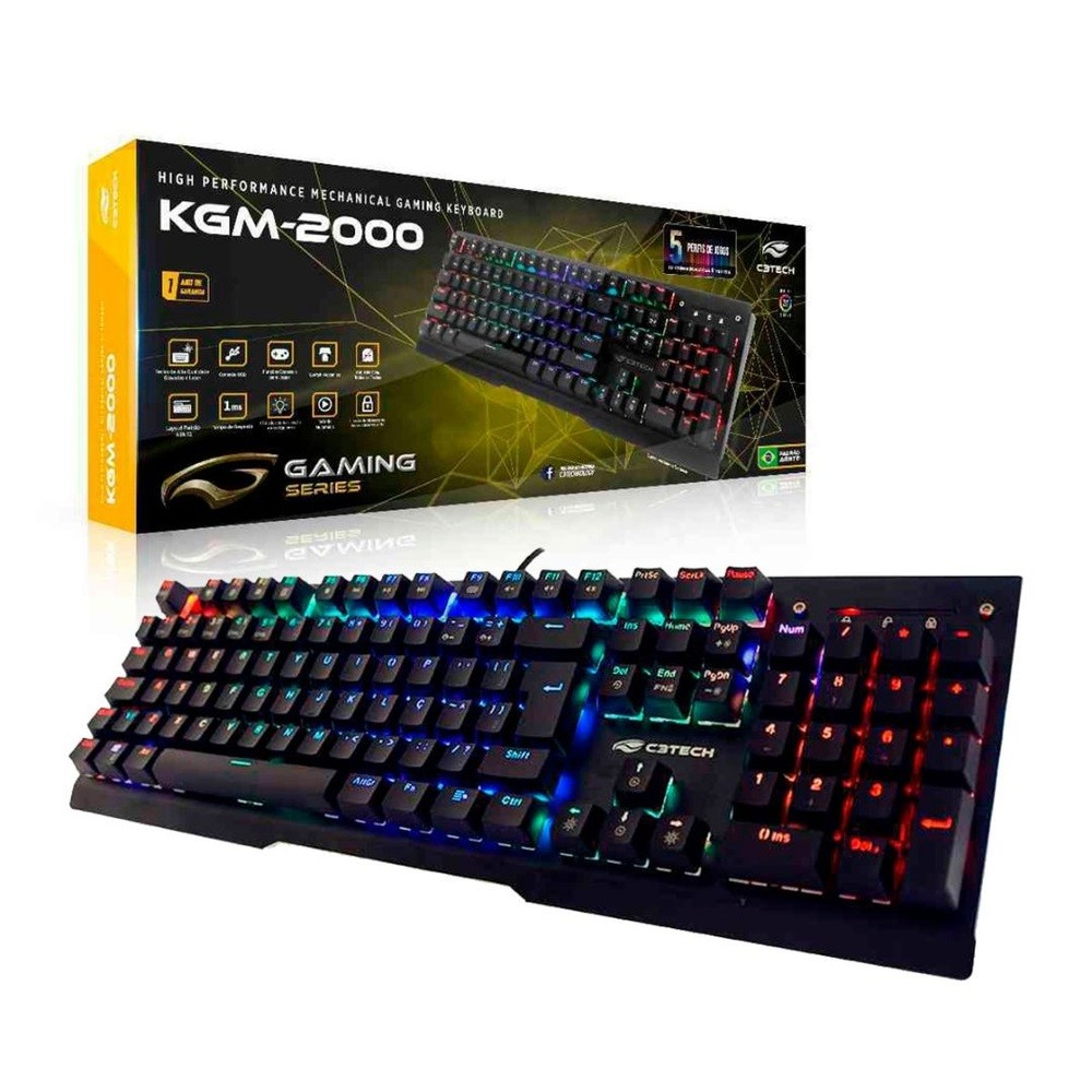 Teclado Gamer KGM-2000BK C3TECH Mecânico USB RGB ABNT2