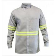 Camisa Eletricista NR10 Cinza C/Faixa Refletiva Tamanho M - Sete Seg