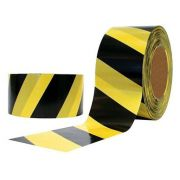 Fita Zebrada Preta Amarela 70mm x 150 Metros