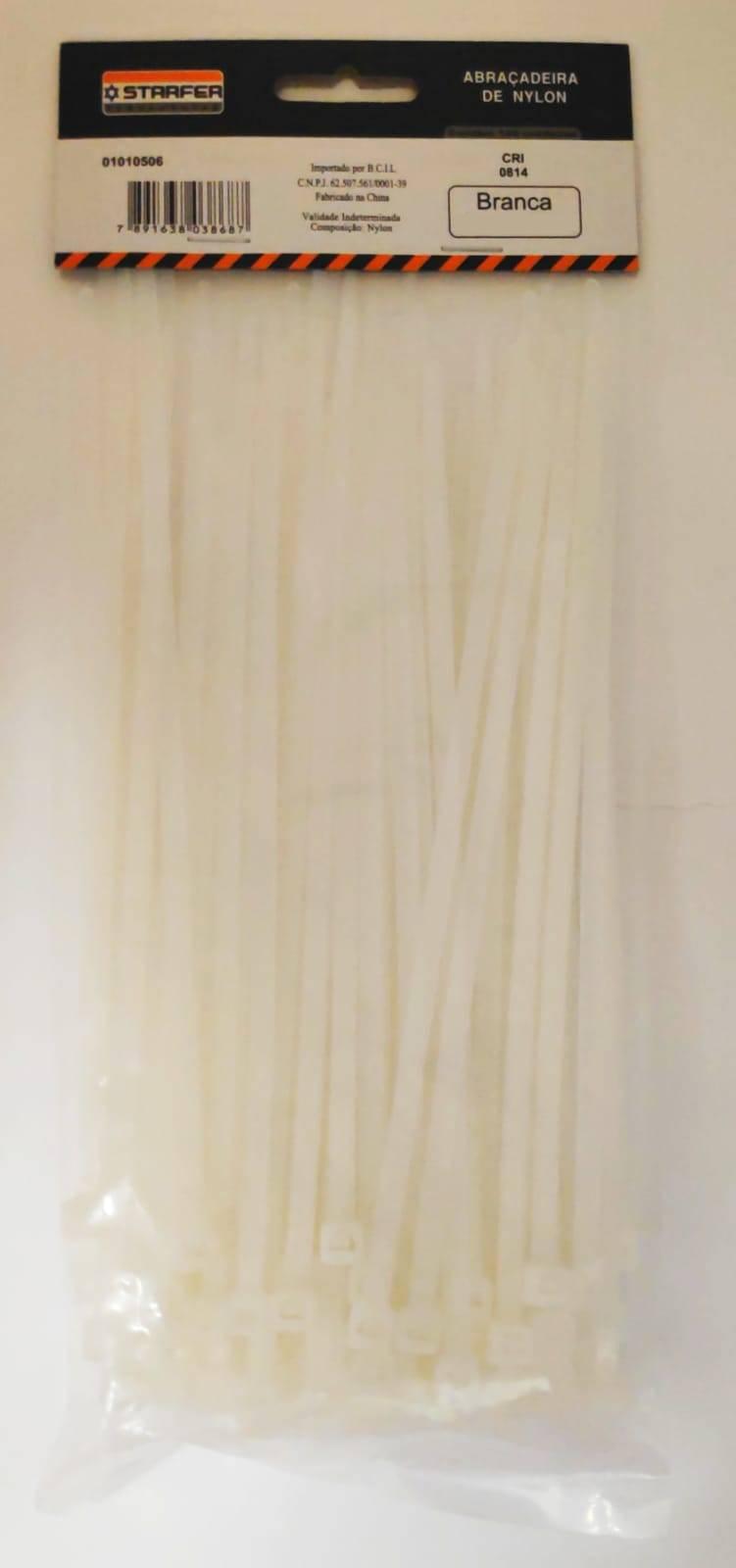 Abraçadeira de Nylon Branca 150mmx3,6mm Com 100 Peças - Starfer