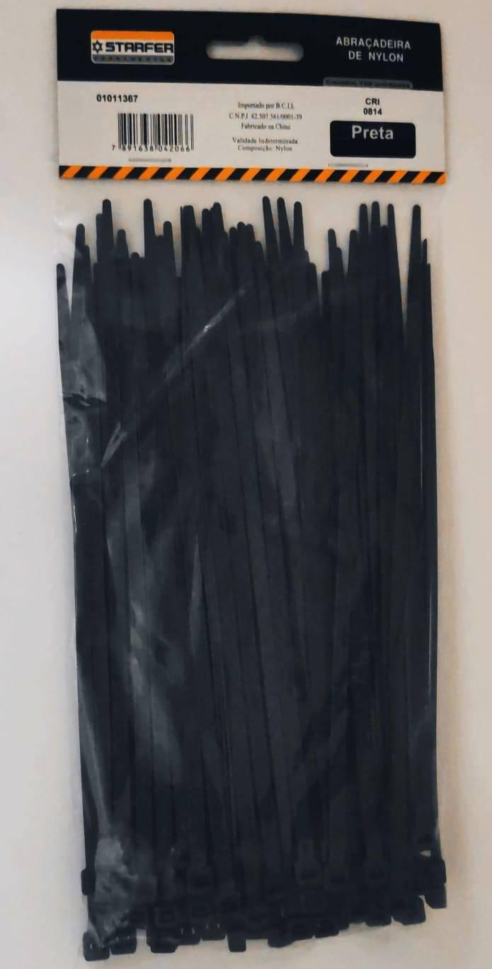 Abraçadeira de Nylon Preta 100mmx2,5mm Com 100 Peças - Starfer