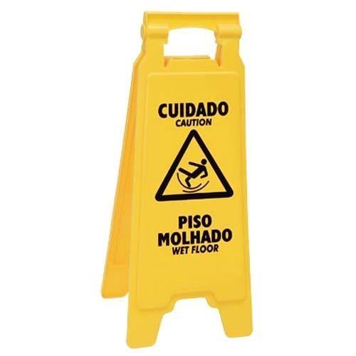 """Cavalete de Sinalização """"Piso Molhado"""" Amarelo 610X300 - Plastcor"""